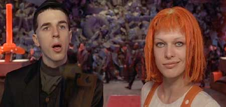 The Fifth Element: David and LeeLoo posing as Korben and Mrs. Dallas at the airport.