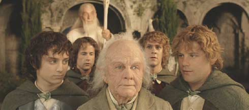 Lord of the Rings: The Return of the King: Bilbo, Frodo and Gandalf prepare to depart for the Grey Havens.
