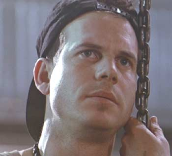 Aliens: Private W. Hudson (Bill Paxton) in a rare, quiet moment.