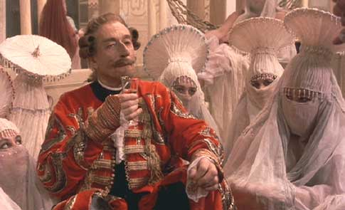 The Adventures of Baron Munchausen: The Baron sips sherry in the palace of the Sultan.