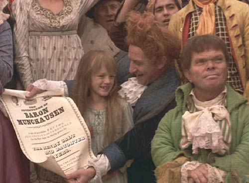 "The Adventures of Baron Munchausen: Sally and her father, Henry Salt (Bill Paterson), who has replaced the word ""son"" with ""daughter"" on the flyer."