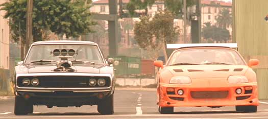 The Fast and the Furious: The Charger vs. the Supra for a 1/4 mile.