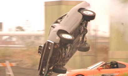 The Fast and the Furious: The Charger flips right over the Supra.
