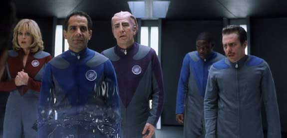 Galaxy Quest: Fred Kwan has a different reaction to the Gelevator than the rest of the crew.