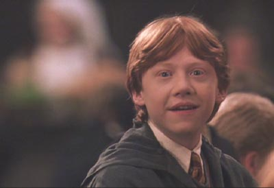 Harry Potter and the Chamber of Secrets: Ron seems pretty happy to see Hermione out of the hospital, don't you think?