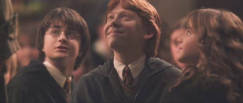 Harry Potter and the Chamber of Secrets: Harry, Ron and Hermione welcome Hagrid back.