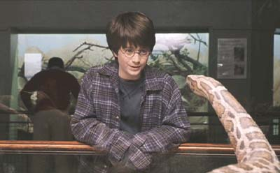Harry Potter and the Sorcerer's Stone: Young Harry talking to a snake, which doesn't seem odd to me. (See my late pet boa, Arlo .) Of course, this snake talks back...