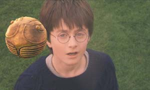 Harry Potter and the Sorcerer's Stone: Harry's first look at the golden snitch.