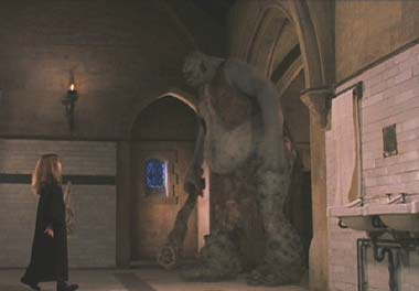 Harry Potter and the Sorcerer's Stone: Hermione encounters a troll in the girl's bathroom.