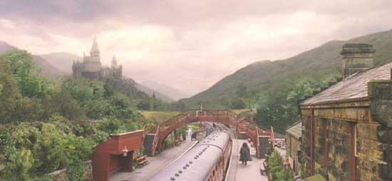 Harry Potter and the Sorcerer's Stone: Hagrid sees off the Hogwart's Express at the end of the year.