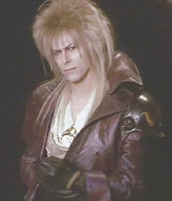 Labyrinth: David Bowie as the Jareth the Goblin King, fetching in his leather ensemble.