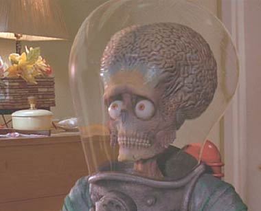 Mars Attacks: The worried look of a Martian hearing Slim Whitman for the first (and last) time.