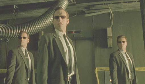 The Matrix: The agents are a little worried about Neo's apparent return from the dead.