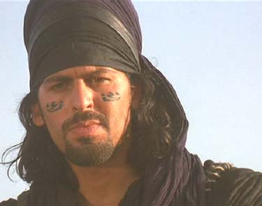 The Mummy (1999): Ardeth Bay, a modern representative of the Paraoh's guards, watches over Lord Imhotep's final resting place.