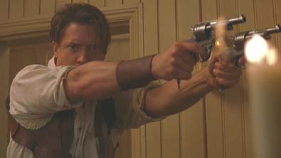 The Mummy (1999): Rick O'Connell busts in, guns blazing, like a good hero.