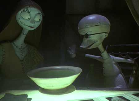 Nightmare Before Christmas: Sally serves Dr. Finklestein his soup.