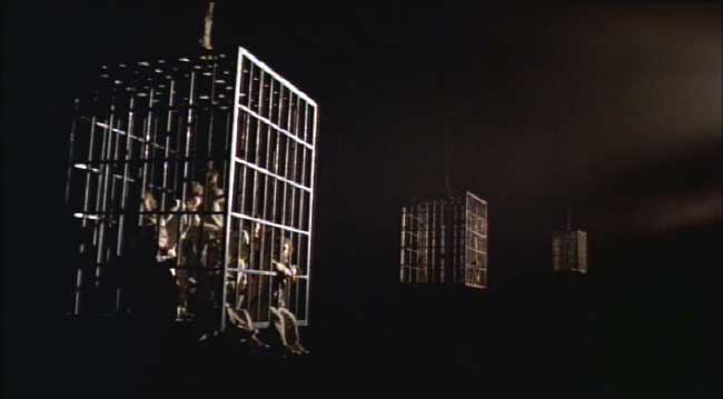 Time Bandits: The hanging cage prisons in The Fortress of Ultimate Darkness.  Another example of Terry Gilliam's brilliant visual imagination.