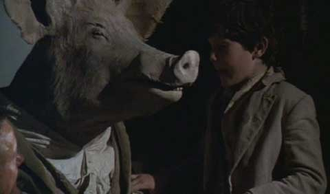 Time Bandits: Og, now half pig, partners up with Kevin to hide the map from Evil.