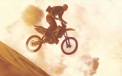 XXX: One of the kind of stunts XXX is known for - this one was pretty sweet.  Buy the Special Edition DVD and get a look at the rider really jumping this buuilding as it explodes.  Pretty amazing.