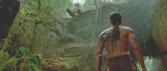 Brotherhood of the Wolf: Mark Dacascos spies the beast.  Notice the gorgeous tattoo.
