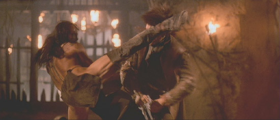 Brotherhood of the Wolf: Mani (Mark Dacascos) looks just as good moving as standing still, and can he fight.