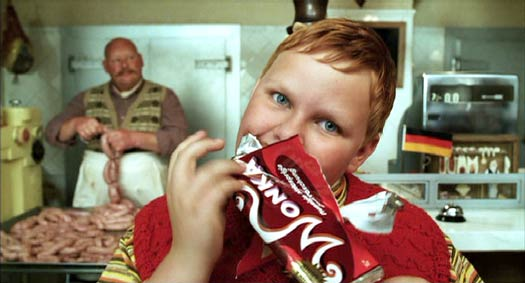 Charlie and the Chocolate Factory: Augustus Gloop (Philip Wiegratz) doing his thing.