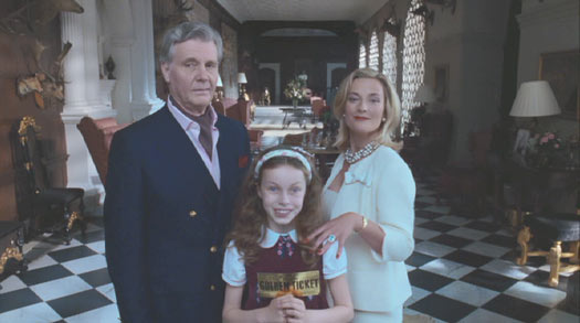 Charlie and the Chocolate Factory: The Salts: Veruca (Julia Winter) and her parents (James Fox and Francesca Hunt).