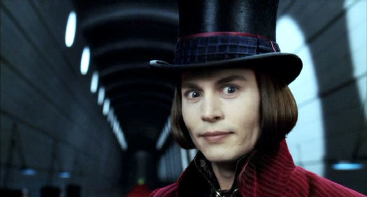 Charlie and the Chocolate Factory: Johnny Depp as Willy Wonka. (And you thought he made a lot of funny faces in  Pirates of the Carribean !)