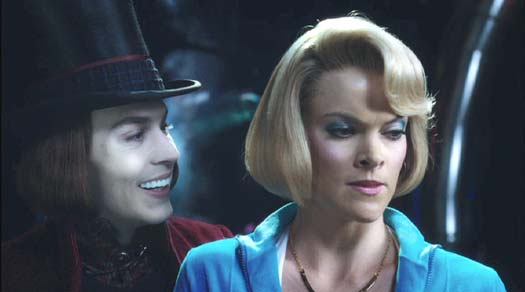 Charlie and the Chocolate Factory: Mrs. Beauregarde is not amused at Veruca's suggestion that she enter Violet in a County Fair, but Willy seems to like the idea.