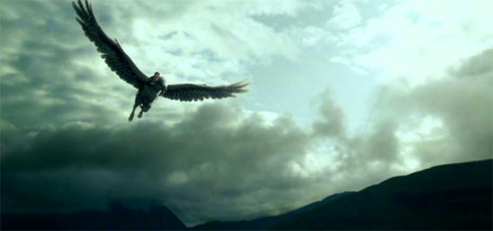 Harry Potter and the Prisoner of Azkaban: Harry riding Buckbeak.