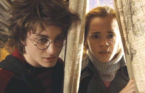 Harry Potter and the Goblet of Fire: Hermione chatting about dragon strategy with Harry.