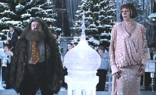 Harry Potter and the Goblet of Fire: Madame Olympe Maxime (Frances de la Tour) and Hagrid. The most charming couple at the dance.