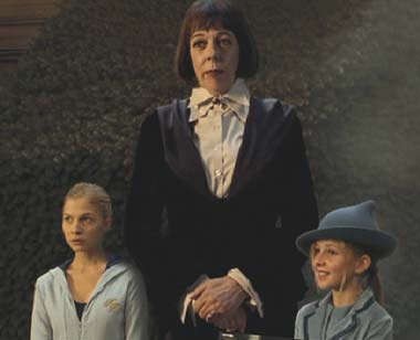 Harry Potter and the Goblet of Fire: Madame Olympe Maxime (Frances de la Tour), Fleur Delacour (Clémence Poésy) and Gabrielle Delacour (Angelica Mandy).