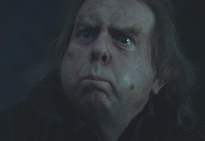Harry Potter and the Goblet of Fire: Timothy Spall as Wormtail/Peter Pettigrew wearing the face of a disgruntled minion.