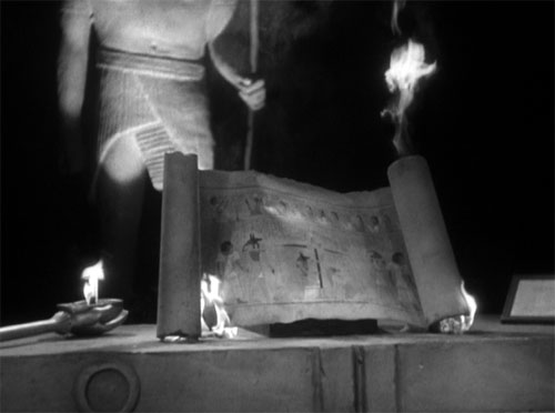 The Mummy (1932): As Im-ho-tep is struck down by Isis, the scroll of Thoth burns.