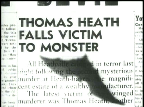 The Devil Bat: Johnny reports that the bat has claimed another victim, this time Tommy Heath, Roy's brother.